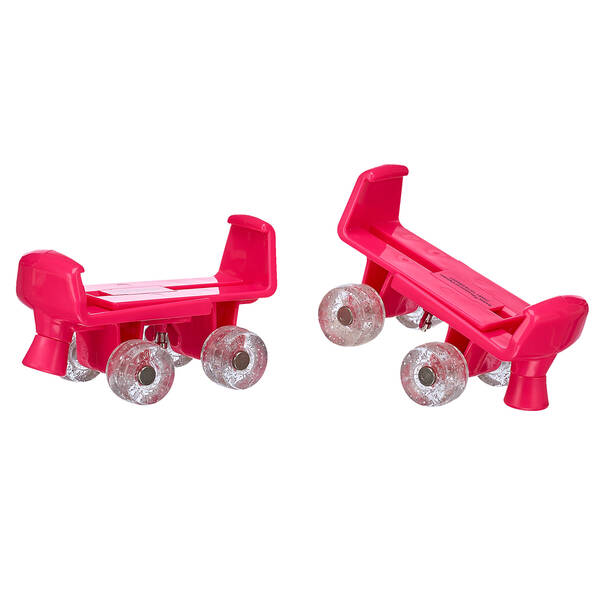 Your furry friend can let the good times roll while wearing this fun pair of roller skates! These fuchsia skates feature glittery wheels and are a fun accessory for any furry friend. PLEASE NOTE: Skates fit best with flat-soled shoes.