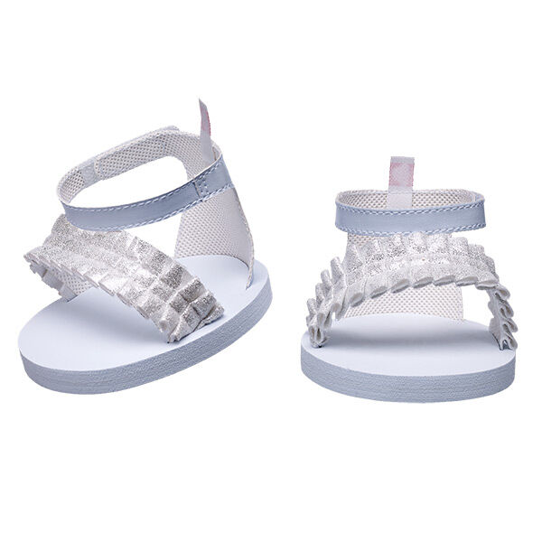 White Ruffle Strap Sandals, , hi-res
