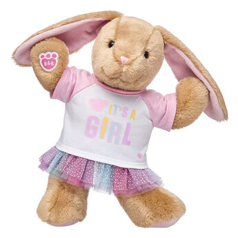This adorable plush bunny is hopping in with some exciting news - IT'S A GIRL! With a cute tee and a sparkly tutu skirt included, this bunny gift set makes a thoughtful baby shower gift or cuddly surprise for any new baby girl.  <p>Price includes:</p>  <ul>    <li>Pawlette™</li>     <li>It's A Girl T-Shirt</li>    <li>Pastel Tutu</li> </ul>