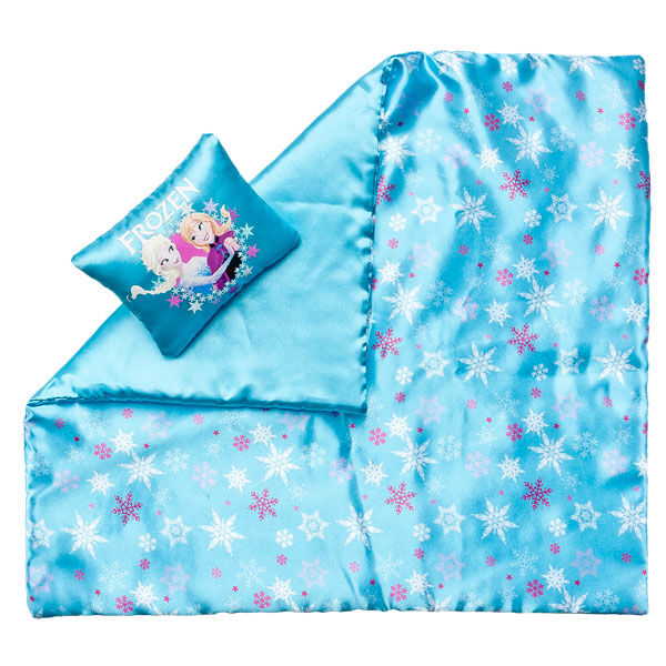 This teddy bear size Frozen Bedding includes a blue blanket with snowflakes and a pillow with an Elsa and Anna graphic.  Disney