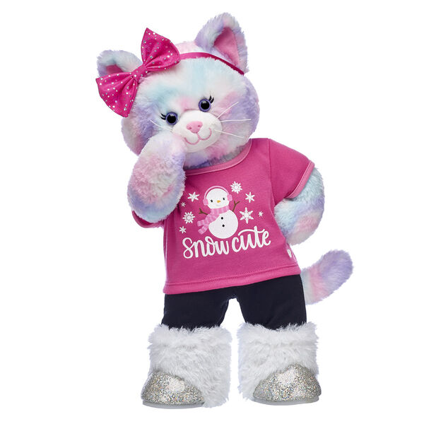Make winter wishes come true with this Pastel Swirl Kitty gift set! With a cute pink snowman tee and lots of soft fur and sparkles, this adorable kitty stuffed animal set is the perfect companion for watching snowflakes fall.