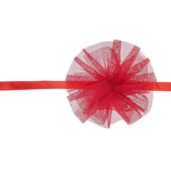 Give your bear some flair! This bright red headband features a sparkly tulle flower on the side.
