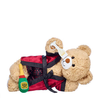 Online Exclusive Cuddly Brown Bear Satin Robe Gift Set, , hi-res