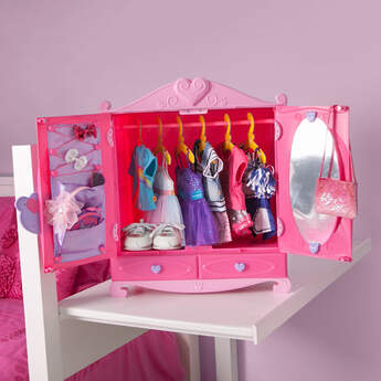 Keep all of your furry friend's accessories inside the Fancy Fashion Boutique. This fashion case includes a bar for hanging clothes, drawers, a mirror, elastic holders and pockets. Organization has never been this cute! The functional toy makes a great gift! Bear, outfits and accessories sold separately.