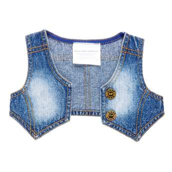Any furry friend wearing this trendy faded blue jean vest has coolness all sewn up! The stylish denim vest has brown stitching and B-A-B buttons for extra hipness!