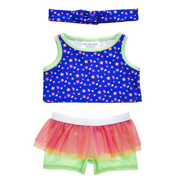 Get ready to move! This three-piece set features everything your furry friend needs to work up a sweat. The blue tank features an all-over pattern of colourful stars, while the green shorts add a touch of fun with a colourful tulle tutu attached. A matching bow headband completes this hip and active look!
