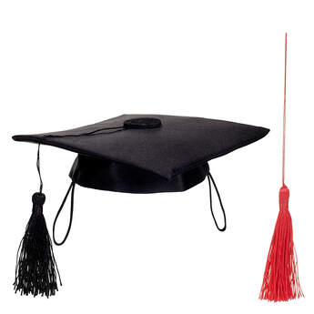 Online Exclusive Black Graduation Cap with Red Tassel, , hi-res