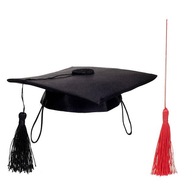 Online Exclusive Black Graduation Cap with Red Tassel, , hi-res