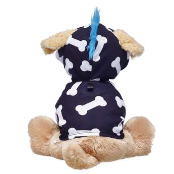 Your Promise Pet will have a cool-as-can-be hairdo with this fun mohawk hoodie! This black hoodie has sleeves for your Promise Pet's two front paws and features a cute white dog bone pattern. A tuft of bright blue mohawk hair on the hood provides the perfect amount of edge while keeping your furry friend warm on its adventures!