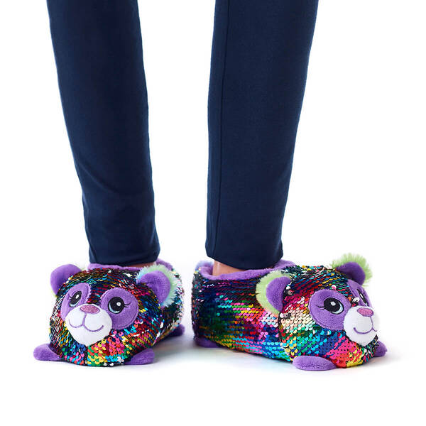 Panda Sequin Slippers, , hi-res