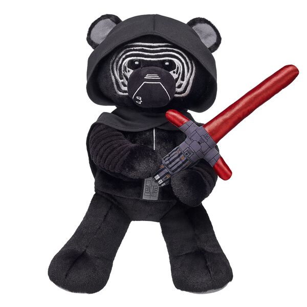 The First Order is on the rise, and this dark lord is leading the uprising! The Kylo Ren Bear features the character's iconic mask, hood with cape and the Star Wars™ The Force Awakens logo on the paw pad. Add Kylo Ren's unique lightsaber for an authentic movie feel. © & ™ Lucasfilm Ltd.