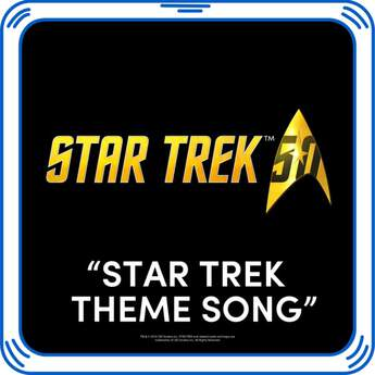 """Boldly go where no man has gone before by adding the """"Theme from Star Trek"""" song to your furry friend. This iconic song is the perfect addition to a gift for any fan of Star Trek.& © 2016 CBS Studios Inc. STAR TREK and related marks and logos are trademarks of CBS Studios Inc. All Rights Reserved."""