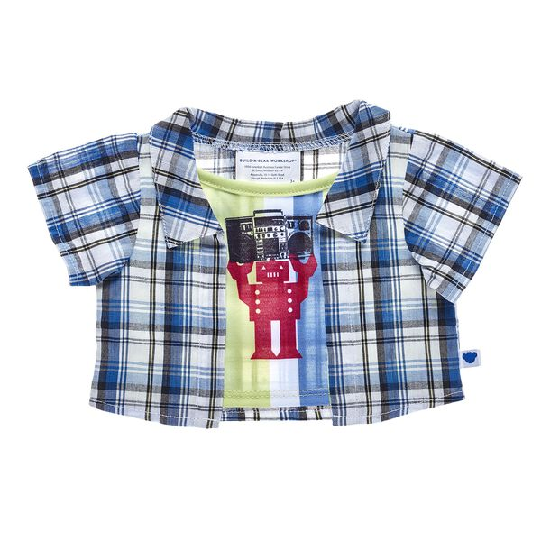 This cute 2-fer top for stuffed animals features a blue plaid shirt and neat robot tee underneath. Build-A-Bear Workshop offers hundreds of unique stuffed animal clothing & accessory options you won't find anywhere else. Outfit a furry friend online to make the perfect gift!