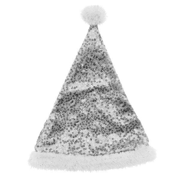 Silver Sequin Santa Hat, , hi-res