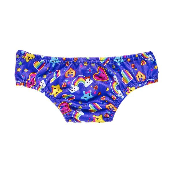Underwear for your furry friend is more fun with rainbows, hearts and stars! These purple panties feature a cheerful pattern of smiley face hearts, stars and rainbows with clouds. Add this pair of underwear beneath your furry friend's favourite outfit and complete the ensemble!
