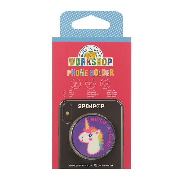 Let your phone accessories run wild with rainbow colour! Grip, organise or prop up your mobile phone with this colourful Rainbow Unicorn phone holder. With a Spinpop phone holder, you can spin it, pop it, push it and lock it!
