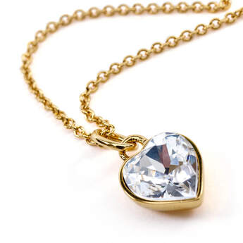 Online Exclusive Heart Stone Pendant Gold Necklace with Swarovski® crystals - Build-A-Bear Workshop®