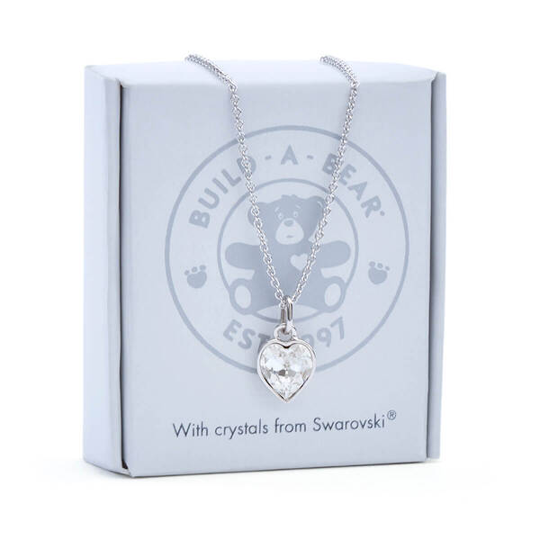 Online Exclusive Heart Stone Pendant Silver Necklace with Swarovski® crystals - Build-A-Bear Workshop®