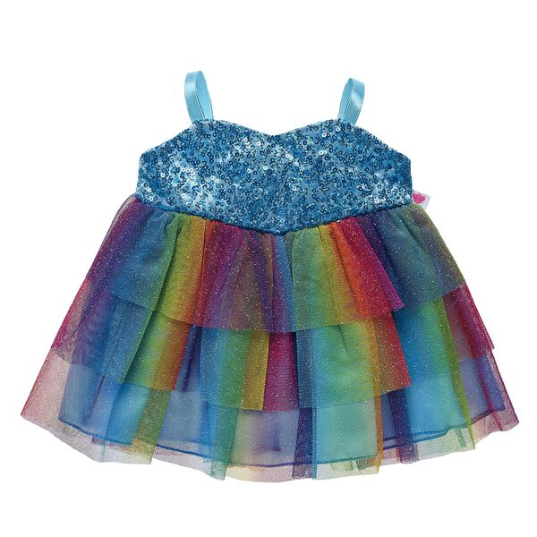 Your furry friend will shine with this awesome Turquoise Rainbow Dress! Shop for unique stuffed animal clothing & accessories at Build-A-Bear.