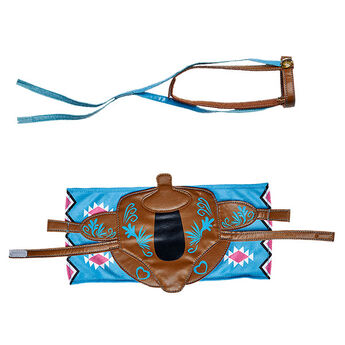 Yee-haw! Give your horse a Turquoise Western Saddle, Bridle & Blanket Set. This stylish set is the perfect accessory for any member of the Horses & Hearts Riding Club.
