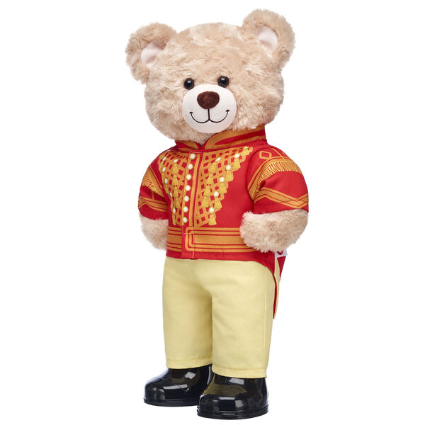 "Happy Hugs Teddy is ready to march like a toy soldier from Disney's ""The Nutcracker and the Four Realms""! This teddy bear gift set features Happy Hugs in a two-piece red and gold costume. It's a super fun way to relive the magic of this timeless tale!"