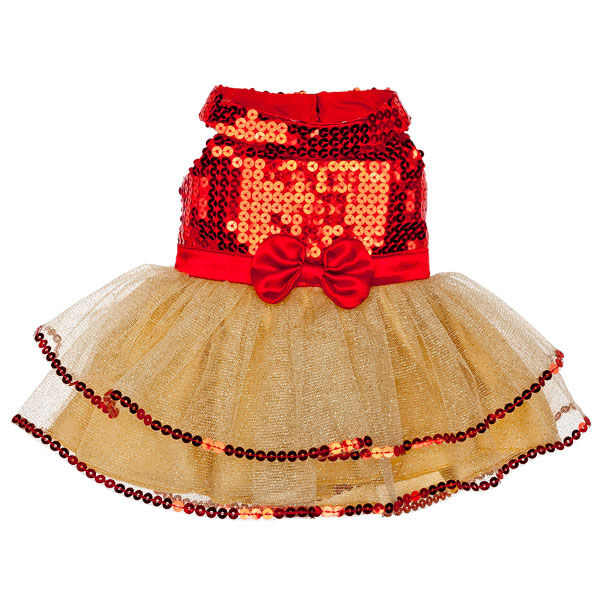 Gold & Red Tulle Dress, , hi-res