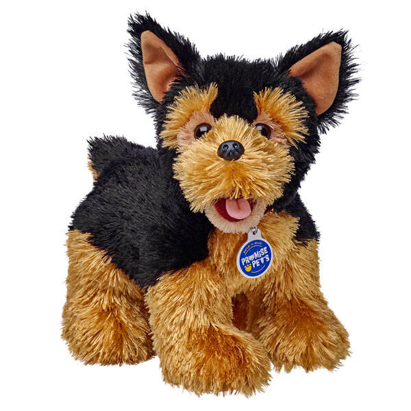 Yorkshire Terriers are little packages of friendship and loyalty. They will stay by your side through thick and thin, especially if you have treats in your pocket. This Yorkie stuffed animal is the perfect little loyal friend that will stay with you for years to come. Start planning adventures with your new Promise Pet Yorkie stuffed animal! Plus, you can download our free Promise Pets app and jump into a world where you take care of your new pet in fun, challenging games for the ultimate together time experience. Unlock new levels and earn the top title - Pet Care Pro. It's all about keeping your Promise Pet happy and healthy. Good luck!