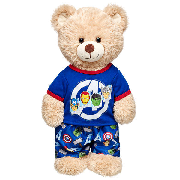 Any Avengers fan will love these Avengers PJs! This 2 pc. set includes a blue t-shirt with red trim, an Avengers logo with Thor, Captain America, Hulk and Iron Man. The bottoms coordinate with Avengers logos for tons of fun! ™ &  2015 Marvel & Subs.