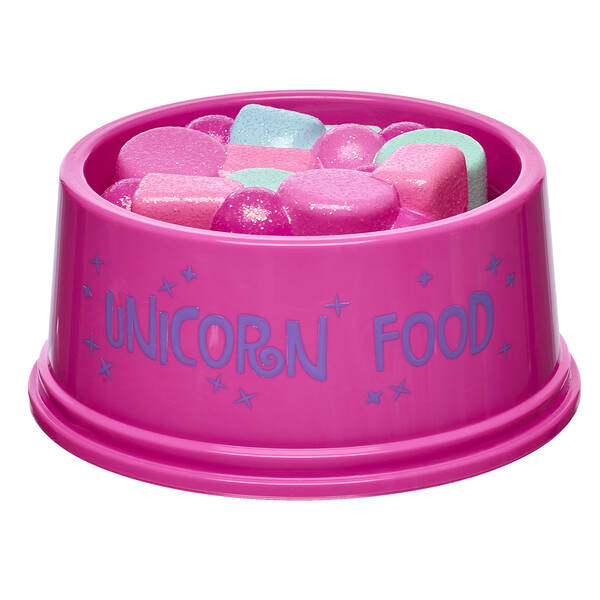 Feed your unicorn furry friend so its ready to go on endless adventures with you! Your furry friend will be ready to gallop into farway lands with this pink bowl of glittery unicorn food.