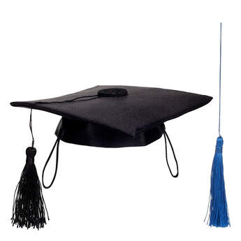 Online Exclusive Black Graduation Cap with Blue Tassel, , hi-res