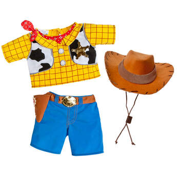 Turn your stuffed animal into your favourite cowboy friend, Woody. Teddy bear size costume includes shirt with attached vest, bandana and badge, jeans with attached belt and holster, and cowboy hat.  Disney
