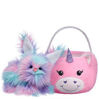 Fuzzy Bunny Unicorn Basket Gift Set, , hi-res