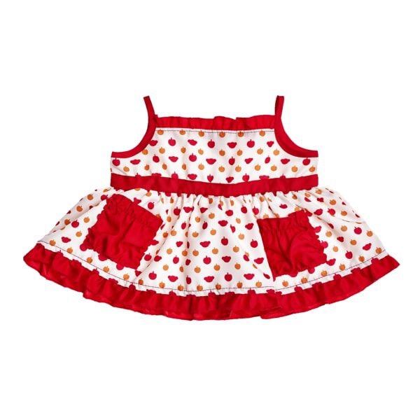 Autumn is for apple picking! Your furry friend will look plum pretty in this white dress with red pockets and trim. The sleeveless dress sports a cute apple and bear print.