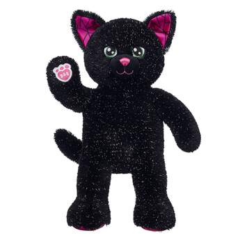 halloween black cat stuffed animal sitting and waiving