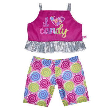 Does your furry friend love candy? They can take a trip to the candy shop in this fun activewear outfit! This colourful two-piece outfit includes leggings and a shiny tank top.