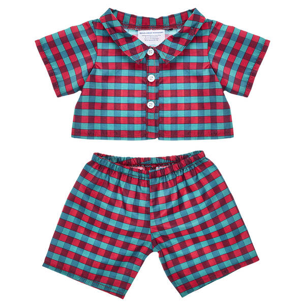 Your furry friend will have lots of sweet dreams when wearing this cute pair of red and green pyjamas for stuffed animals!