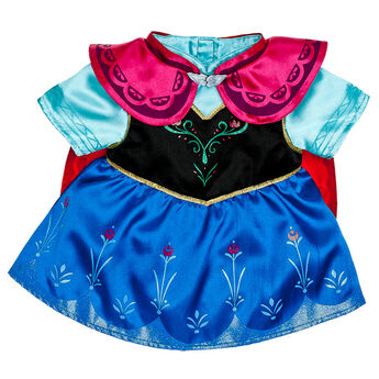 Make a cool teddy bear gift with this Anna Costume. The teddy bear size Anna Costume includes a dress with a blue skirt, a black bodice with teal underneath and a pink cape. Dress your favourite stuffed animal like a princess in this Anna Costume and make a great Frozen themed gift. © Disney