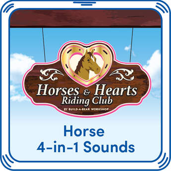 Neigh! Add Horses & Hearts Riding Club's real horse sounds to your furry friend with the 4-in-1 Horse Sound at Build-A-Bear Workshop online.