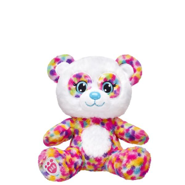 With brightly coloured fur and a big happy smile, this Build-A-Bear Buddies™ Rainbow Panda is ready for some cuddles! With soft rainbow fur and light blue eyes, this furry friend is sure to bring some colourful smiles your way. NOTE: Build-A-Bear Buddies only fit in Build-A-Bear Buddies clothing. This item cannot be purchased unstuffed, nor can stuffing adjustments be made. A sound or scent cannot be placed inside this pre-stuffed item.