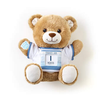 "Online Exclusive Little Cub Hugs Teddy Teal ""Today I Am"" Baby Gift Set, , hi-res"