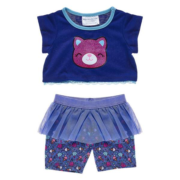 """Catlynn is a colorful cat who loves to stay active, so this """"skegging"""" set is the Perfect outfit! These ice cream print leggings have a blue tutu skirt."""