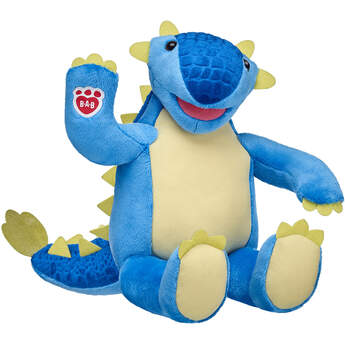 blue ankylosaurus dino stuffed animal sitting