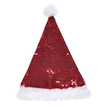 Up on the rooftop…it's your furry friend wearing this adorable Santa hat! This classic stuffed animal Christmas hat features red sequins for a stylish look.