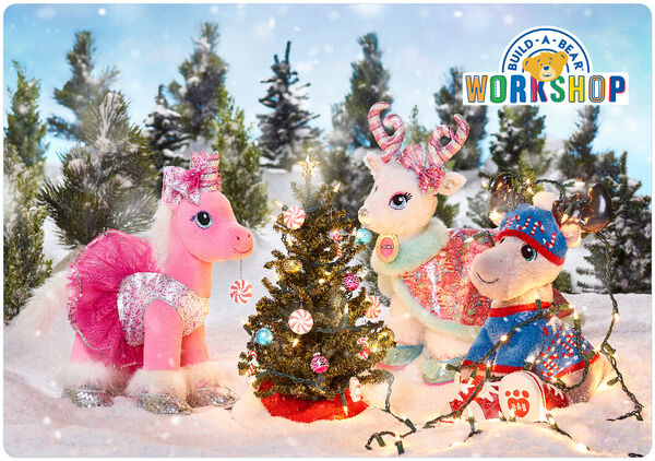 Share the joy of the Merry Mission with this festive Build-A-Bear Workshop e-gift card! This fun e-gift card is an easy way to make Christmas wishes come true.