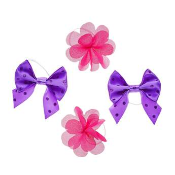 With two pink flower bows and two classic purple bows, this four piece hair accessory set is a versatile choice for any furry friend's wardrobe.