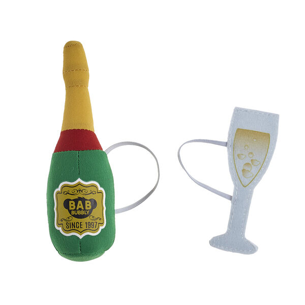 Online Exclusive Build-A-Bear Bubbly Plush Champagne and Glass Set, , hi-res