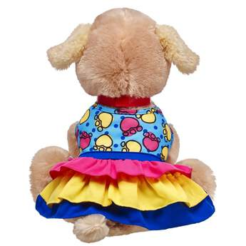 Dress up your Promise Pets for playtime with this colourful multi-layered dress! This dress is perfect for four-legged furry friends and features pink, yellow and blue layers at the bottom. The top has a colourful paw print pattern that provides an extra cute look for romping around!