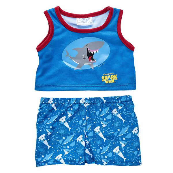 Your furry friend can soak up the sun in this cool Shark Week outfit for stuffed animals! This beach-ready look features a blue shark tank top and board shorts. Outfit a furry friend online to make the perfect gift. Free shipping on orders over $45. Shop online or visit a store near you!