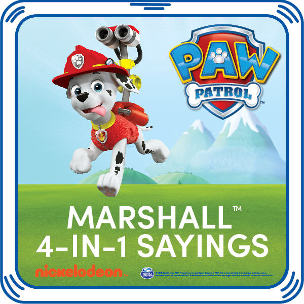 Add Marshall's signature sayings to your furry friend. This pup's playful phrases are the PAWfect addition to any PAW Patrol furry friend.  © 2015 Spin Master PAW Productions Inc. All Rights Reserved. PAW Patrol and all related titles, logos and characters are trademarks of Spin Master Ltd. Nickelodeon and all related titles and logos are trademarks of Viacom International Inc.