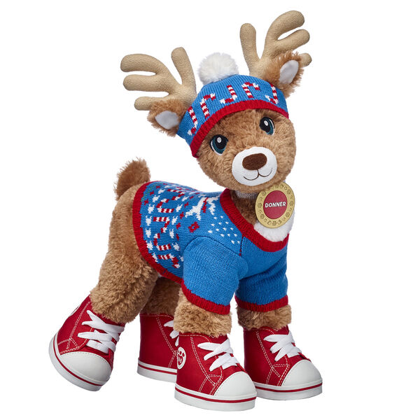 It's no surprise that this lovable reindeer has earned the nickname The Builder! Donner is an inventor who has dreams of having his very own workshop one day. Until then, this complete stuffed animal gift set is the perfect way to prepare him for helping in Santa's workshop this Christmas! His sweater, hat and shoes ensure that he can work outside in the winter cold!